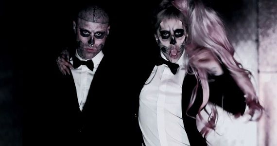 Lady Gaga and Rico the Zombie in the 'Born This Way' music video