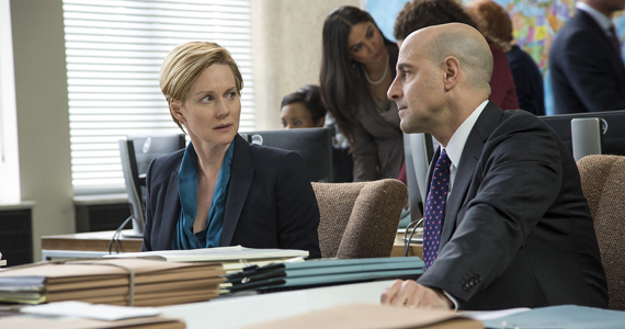 Laura Linney and Stanley Tucci in The Fifth Estate The Fifth Estate Review