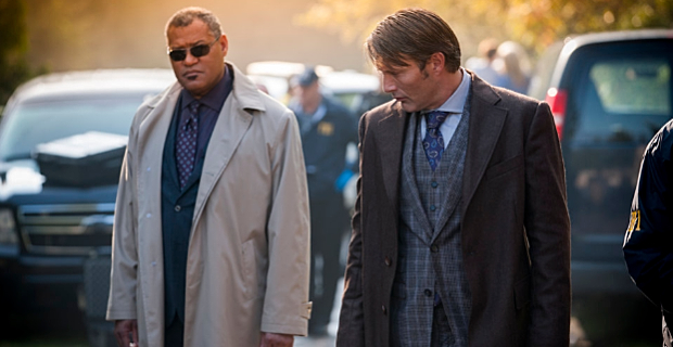 Laurence Fishburne and Mads Mikkelsen in Hannibal Season 2 Episode 1 Hannibal Season 2 Premiere Review – What a Beautiful Presentation