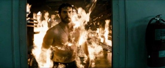 Man of Steel Trailer Images Clark Kent on Fire 570x237 Man of Steel Trailer Images   Clark Kent on Fire