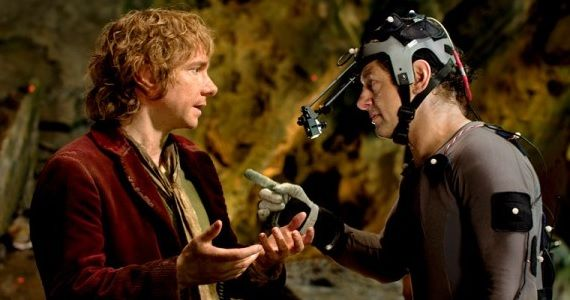 Martin Freeman and Andy Serkis on the set of 'The Hobbit'