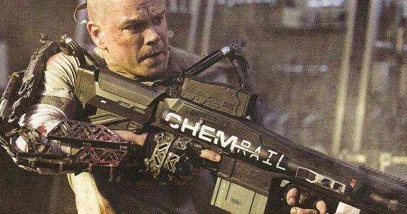 Matt Damon ChemRail rifle Elysium Screen Rants 2013 Summer Movie Preview
