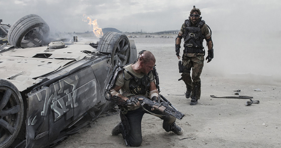Matt Damon and Sharlto Copley in Elysium Elysium Review