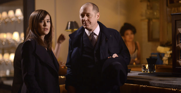 Megan Boone and James Spader in The Blacklist Season 1 Episode 20 The Blacklist: Everyone Deserves A Friend Like Red