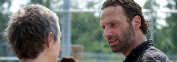 Melissa McBride and Andrew Lincoln in The Walking Dead The Suicide King The Walking Dead Season 3, Episode 9 Review – New Blood