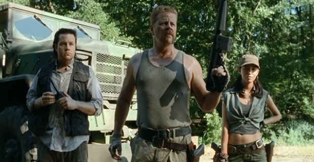 Michael Cudlitz Christian Serratos and Josh McDermitt in The Walking Dead The Walking Dead Star Michael Cudlitz Discusses New Characters