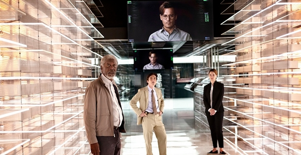 Morgan Freeman Cillian Murphy and Rebecca Hall in Transcendence 2014 Transcendence Review