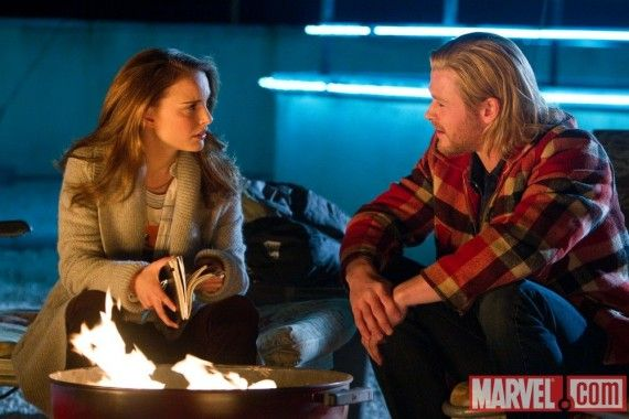 Natalie Portman and Chris Hemsworth in Thor 570x380 Official Thor and Captain America Movie Images