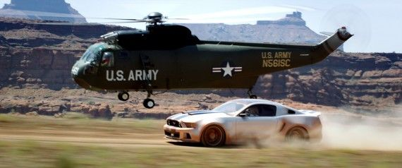 Need For Speed Movie Stunt Mustang Helicopter 570x238 Need For Speed Interview: John Gatins Talks Story & Sequel Potential