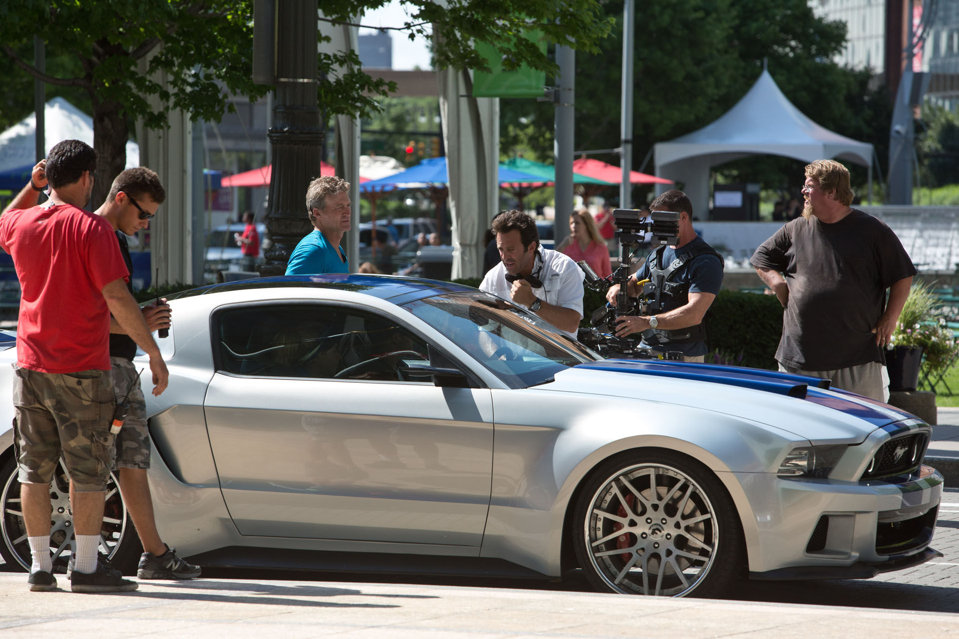 Need For Speed Official Set Photo Downtown Detroit Michigan Mustang NEED FOR SPEED Set Visit Photo   Hero Mustang