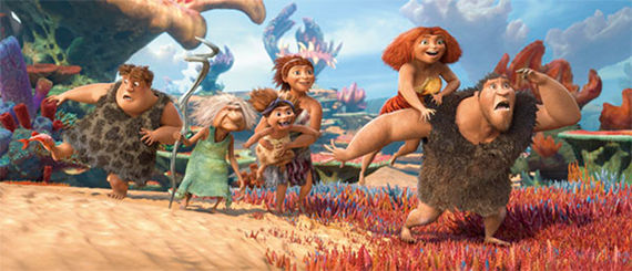 Nic Cage Emma Stone Cloris Leachman Catherine Keener and Clarke Duke in The Croods The Croods Review