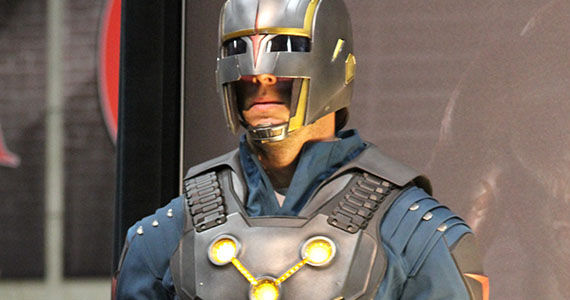 Nova Centurion Costume Guardians of the Galaxy Comic Con Marvel Booth Guardians of the Galaxy: Glenn Close & Peter Serafinowicz Nova Roles Confirmed