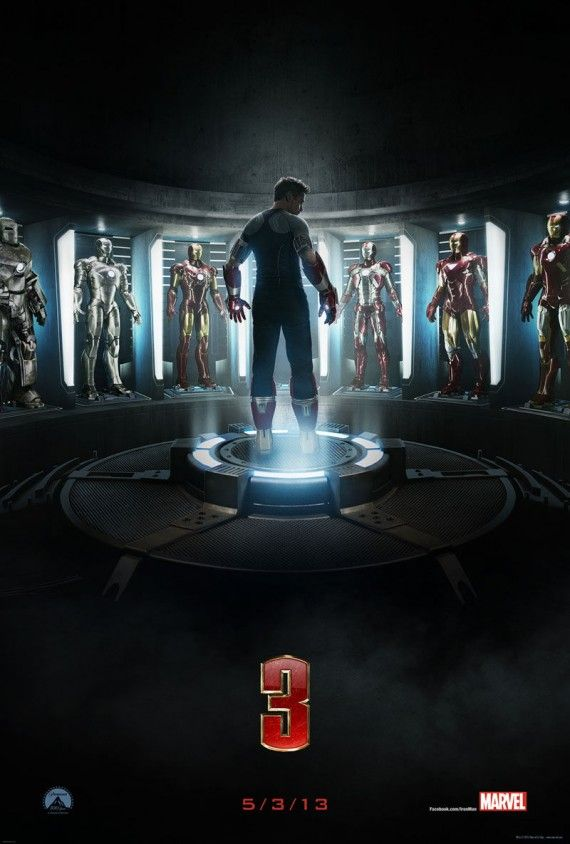 Official Iron Man 3 Poster 570x844 Iron Man 3 Poster, New Photos & Additional Story Details [Updated]