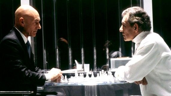 Patrick Stewart Professor X Ian McKellen Magneto X Men Chess 570x320 Patrick Stewart (Professor X) and Ian McKellen (Magneto) play chess in X Men movie