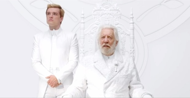 Peeta and President Snow in The Hunger Games Hunger Games: Mockingjay   Part 1 Viral Teaser: Hail President Snow