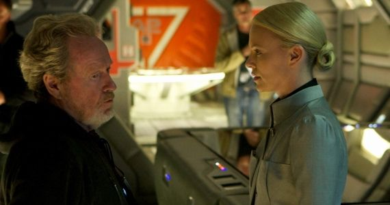 Prometheus Ridley Scott Charlize Theron Ridley Scott Refused Prometheus Directors Cut; Original Script Details Revealed