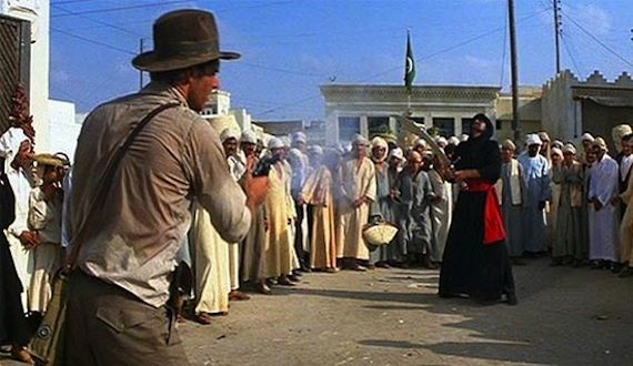 Raiders of the Lost Ark gun vs. sword Screen Rants Best Shared Movie Moments
