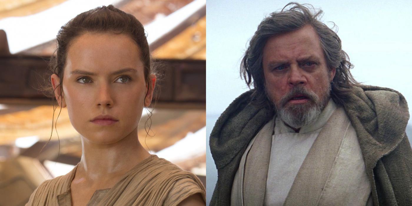 Rey and Luke Skywalker in Star Wars Force Awakens
