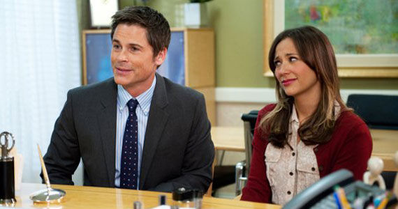 Rob Lowe and Rashida Jones  Rob Lowe & Rashida Jones Leaving Parks and Recreation During Season 6