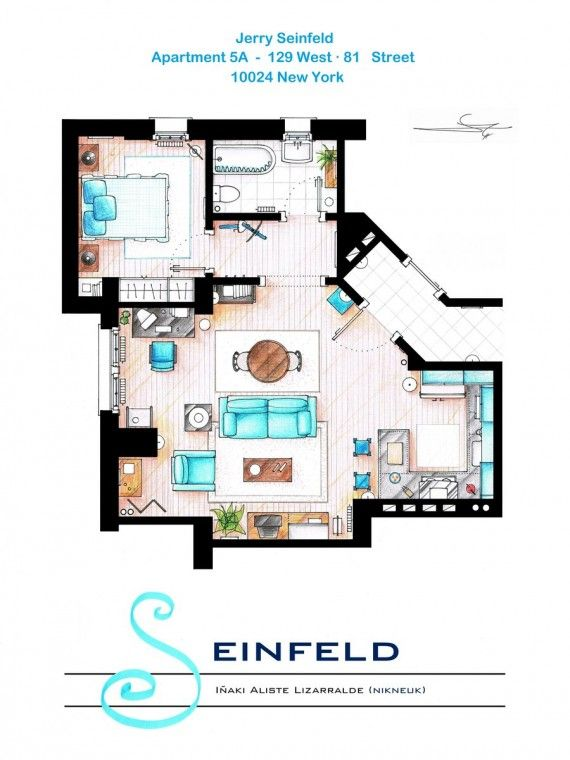 Seinfeld Floor Plan 570x760 SR Geek Picks: NPHs 2013 Tony Awards Opener, Pink Floyd Avengers, TV/Movie Outtakes & More