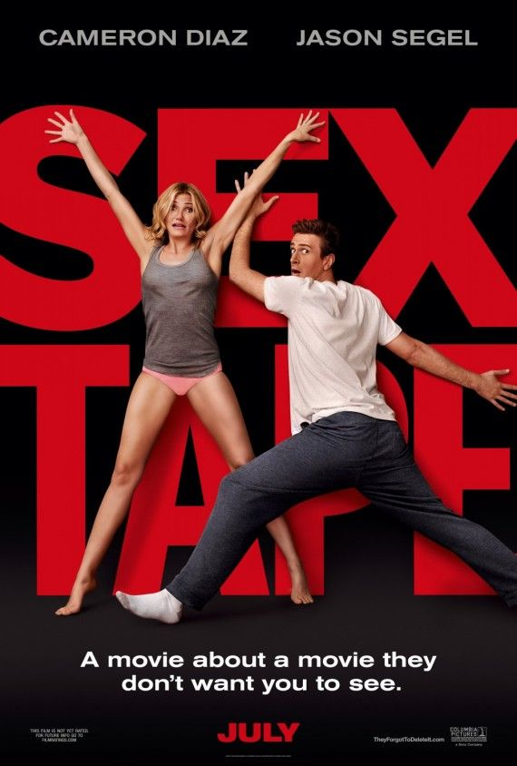 Sex Tape Movie Poster with Cameron Diaz and Jason Segel 570x844 Sex Tape Red Band Trailer: The Dangers of Cloud Technology