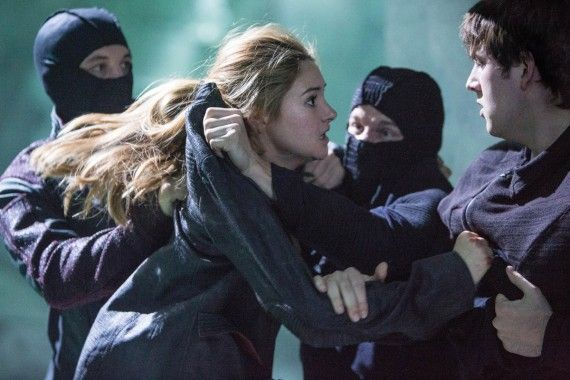 Shailene Woodley and Miles Teller in Divergent 570x380  Divergent Movie Image Gallery: Shailene Woodley Gets Tough
