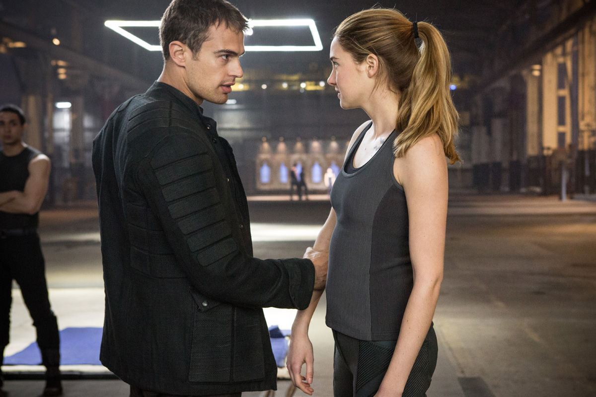 Shailene Woodley as Tris and Theo James as Four in Divergent  Divergent Movie Image Gallery: Shailene Woodley Gets Tough