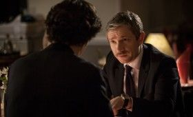 Sherlock season 3 John at dinner 280x170 Sherlock Season 3 Image Gallery Hints at Romance & Conflict