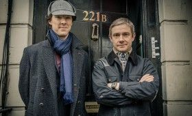 Sherlock season 3 Martin Freeman and Beneidct Cumberbatch 280x170 Sherlock Season 3 Image Gallery Hints at Romance & Conflict