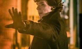 Sherlock season 3 Sherlock in rain 280x170 Sherlock Season 3 Image Gallery Hints at Romance & Conflict