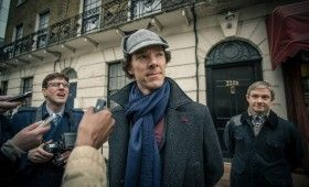 Sherlock season 3 Sherlock with press 280x170 Sherlock Season 3 Image Gallery Hints at Romance & Conflict