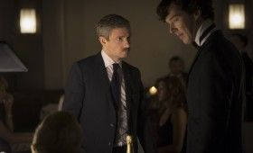 Sherlock season 3 Watson is annoyed 280x170 Sherlock Season 3 Image Gallery Hints at Romance & Conflict