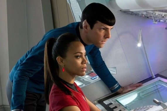 Spock Zachary Quinto Uhura Zoe Saldana Star Trek Into Darkness 570x378 Star Trek Into Darkness Review
