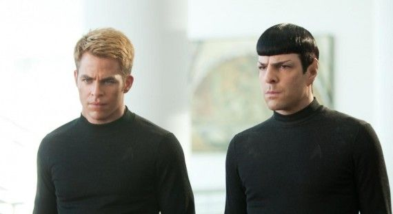 Star Trek Into Darkness Kirk Spock Black Shirts 570x311 Star Trek Into Darkness: Zachary Quinto & Chris Pine on Friendship, Villains, & Volcanoes