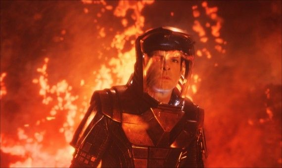 Star Trek Into Darkness Spock in Volcano Suit 570x341 Star Trek Into Darkness Featurette Promises Relentless Action