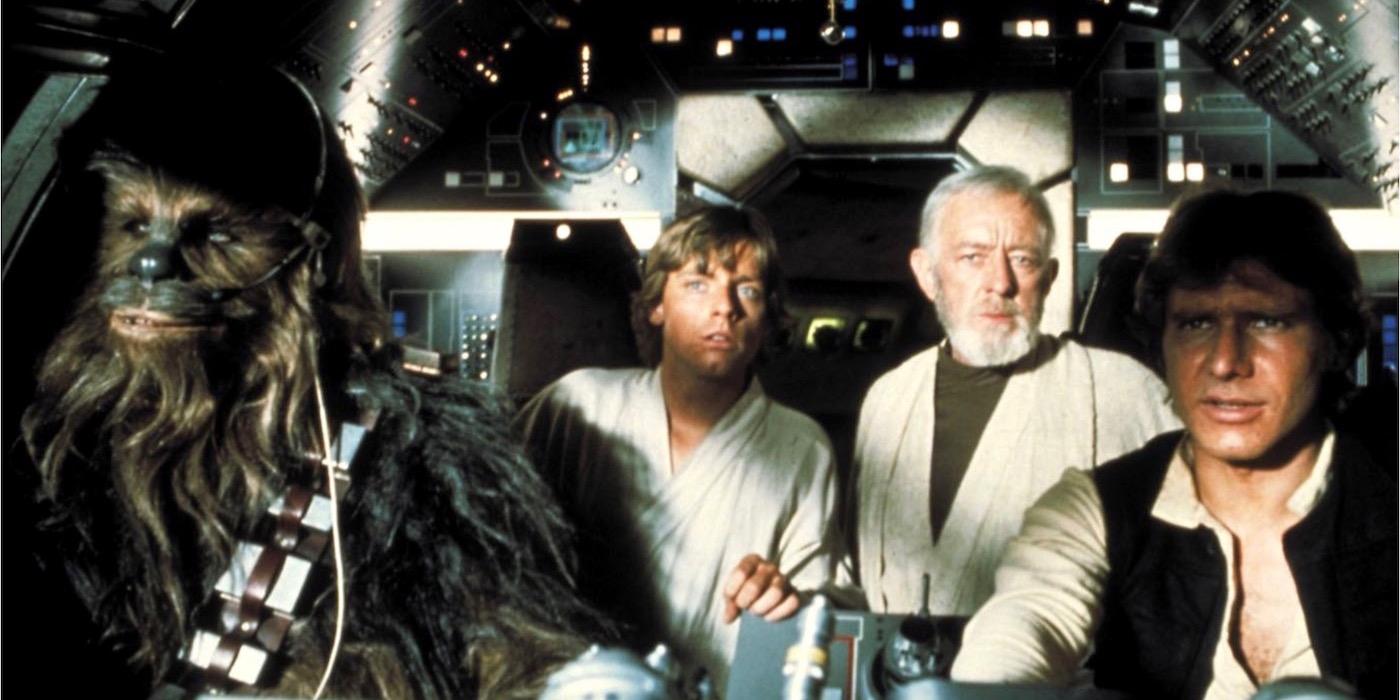 Chewbacca, Han Solo, Obi Wan, and Luke in Star Wars