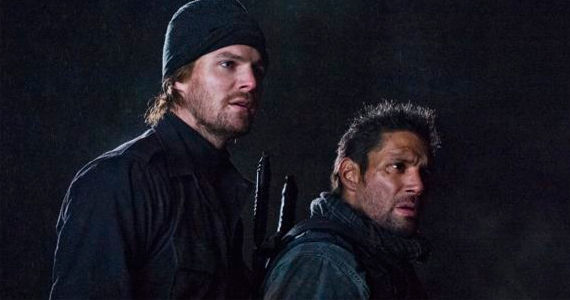 Stephen Amell and Manu Bennett in Arrow Salvation Arrow Season 1, Episode 18 Review – No Man is an Island