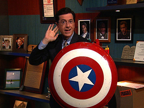 Stephen Colbert Captain America Shield Marvel Announcing Another Classic Character Change up Tonight on Colbert [UPDATED]