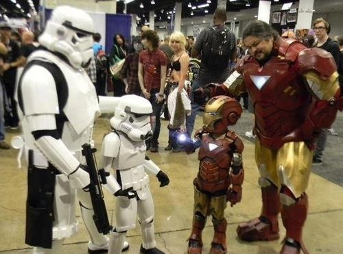 Stormtrooper Family Meets Iron Man Family SR Geek Picks: Tiny Adventure Time Art, Star Wars Cake Pops & James Bond Art