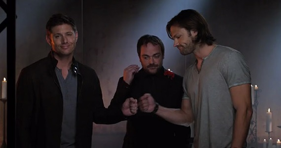 Supernatural fist bump Arrow, Supernatural, The Vampire Diaries & More Renewed by The CW