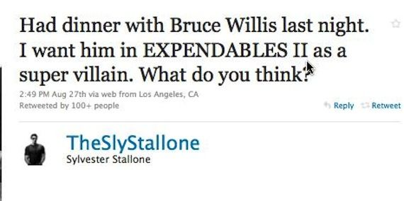 Sylvester Stallone Twitter Expendables 2 Paul W.S. Anderson Wants Fan Input for Resident Evil 5