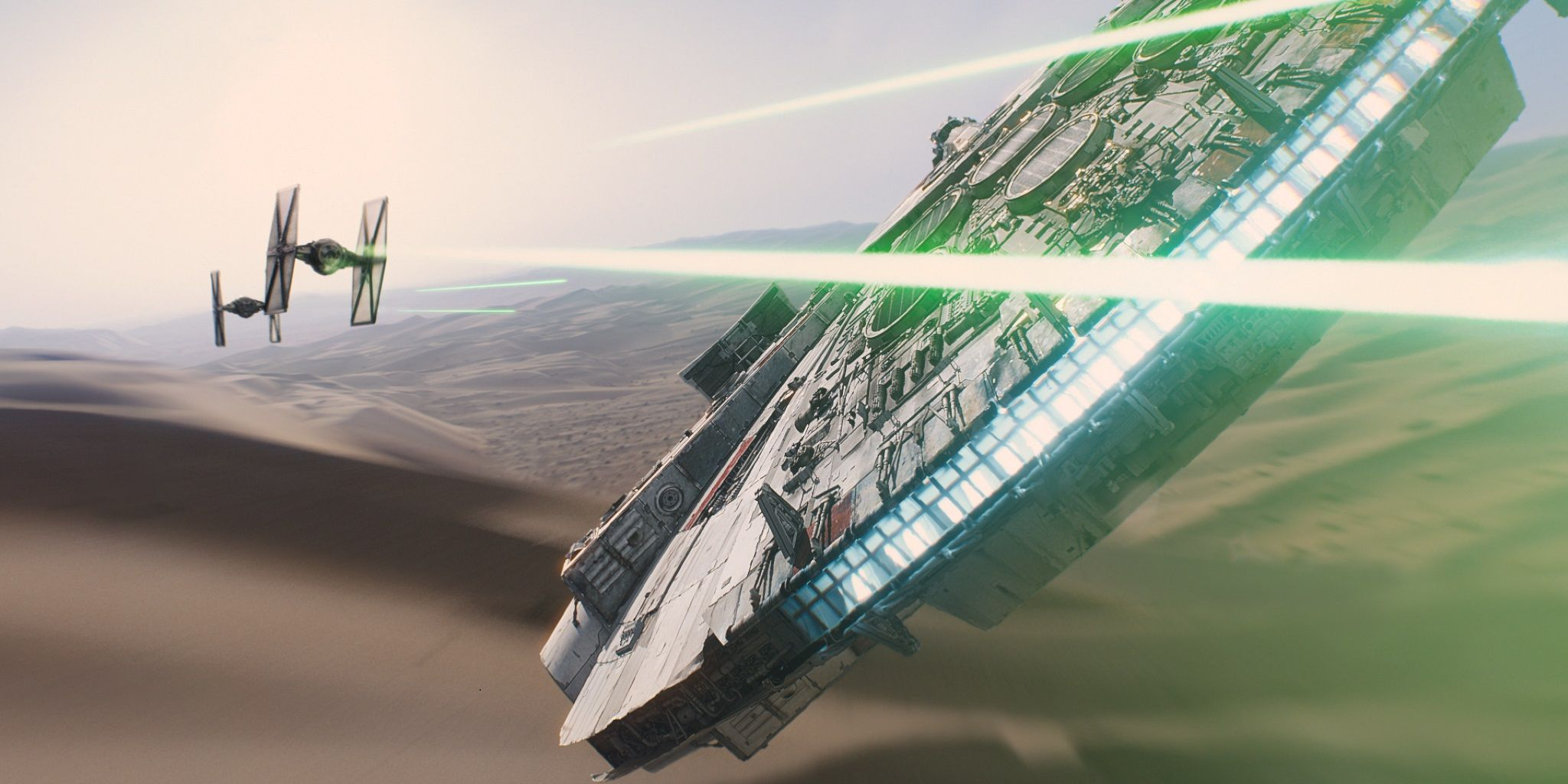 TIE Fighters attacking the Millennium Falcon in Star Wars Episode VII The Force Awakens