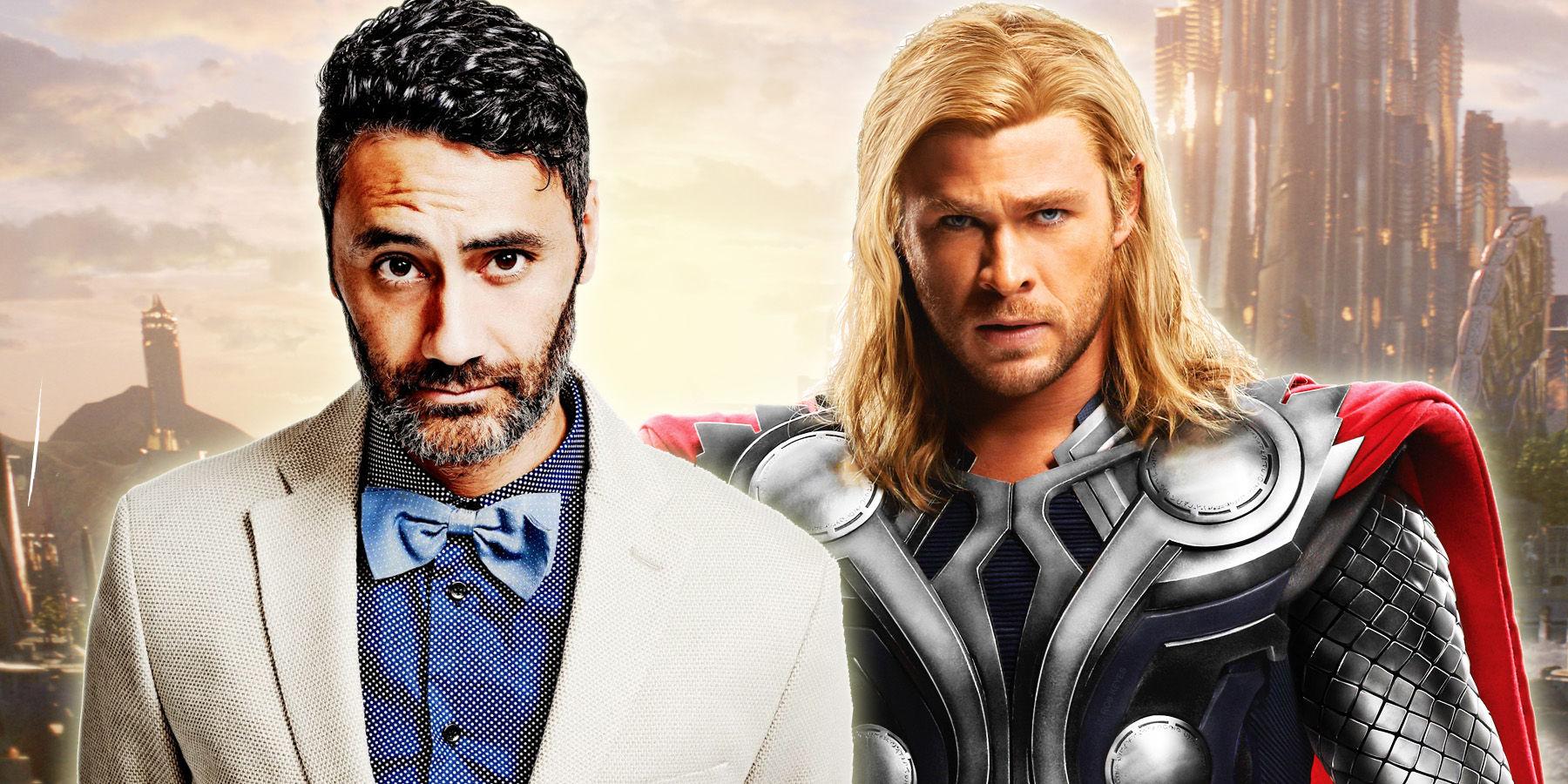 Taika Waititi and Thor (Chris Hemsworth)