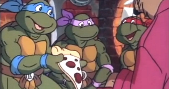 Teenage Mutant Ninja Turtles with pizza Teenage Mutant Ninja Turtles Lair Revealed: Whos Hungry for Pizza Hut?