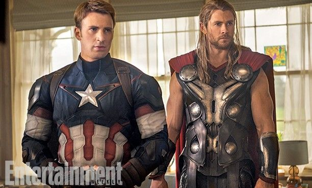 The Avengers 2 Age of Ultron Photo EW Captain America Thor 612x370 First Official Avengers 2 Photos Include Don Cheadle and New Costumes