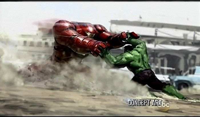 The Avengers 2 Official Hulk vs Iron Man Hulkbuster Concept Art 700x410 First Look At Quicksilver, Scarlet Witch & Hulkbuster Designs in The Avengers 2