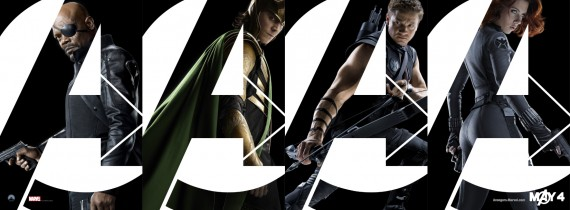 The Avengers banner with Nick Fury, Loki, Hawkeye, and Black Widow