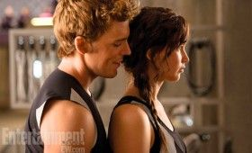 The Hunger Games Catching Fire Katniss and Finnick 280x170 Hunger Games: Catching Fire Images: Katniss, Finnick, Gale, Peeta, Haymitch & More [Re Updated]