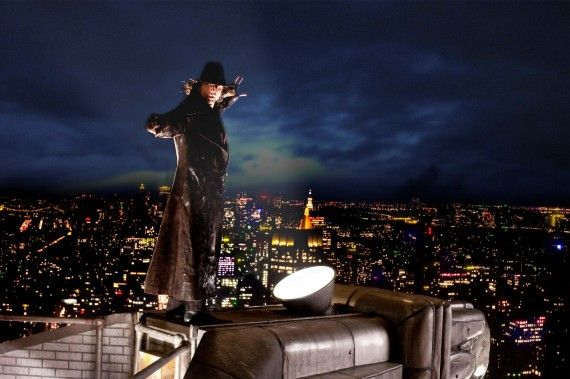 The Sorcerers Apprentice new photo Nicolas Cage on roof 570x379 The Sorcerers Apprentice new photo   Nicolas Cage on roof