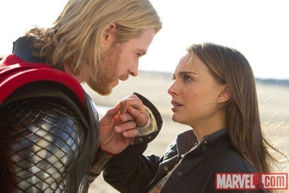 Thor Chris Hemsworth and Jane Foster Natalie Portman in Thor 570x380 Official Thor and Captain America Movie Images